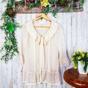 A'Reve Boho Romantic sheer ruffle lace blouse